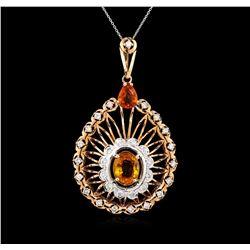 5.15 ctw Orange Sapphire and Diamond Pendant - 14KT Rose Gold