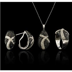 5.45 ctw Black Diamond Pendant and Earrings Set - 14KT White Gold