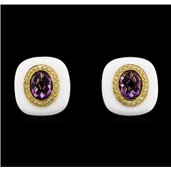 5.50 ctw Amethyst And Diamond Earrings - 14KT Yellow Gold