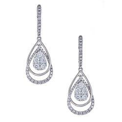 1.01 ctw Diamond Earrings - 18KT White Gold