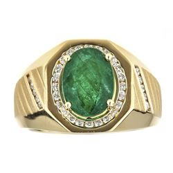 3.33 ctw Emerald and Diamond Ring - 14KT Yellow Gold