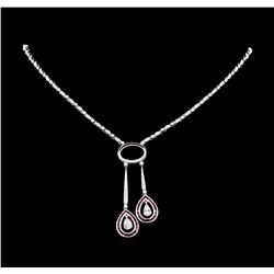 1.20 ctw Ruby and Diamond Necklace - 18KT White Gold