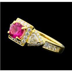 1.99 ctw Pink Tourmaline and Diamond Ring - 18KT Yellow Gold