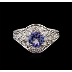 1.30 ctw Tanzanite and Diamond Ring - 14KT White Gold