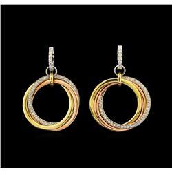 14KT Tri-Color Gold 0.90 ctw Diamond Earrings