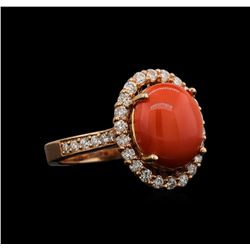 14KT Rose Gold 4.38 ctw Coral and Diamond Ring