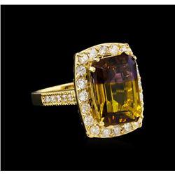 7.83 ctw Ametrine and Diamond Ring - 14KT Yellow Gold