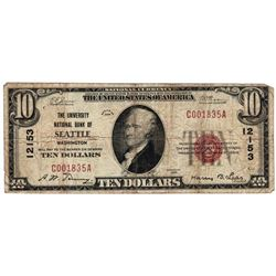1929 $10 Seattle WA National Currency Note Charter #12153