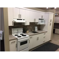 DISPLAY S2 - NEW Soho Thermofoil satin white Kitchen Cabinet display ( includes all cabinets, door,