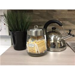 LOT of decor - kettle, cannister and plant