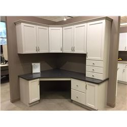 Display D4 - New office cabinetry display, white ( 13 doors, includes all cabinets, counter tops, mo