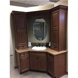 Display V3 - New Bathroom Corner Vanity Cabinet Set. Regency Alder hardwood in Toffee Finish.Include