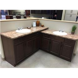 Display V6 - NEW bathroom Cabinet Set Cambridge Maple. LOT of 2 Vanities sold as one lot.Includes al
