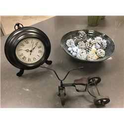 Lot of decor - clock, bowl and bike