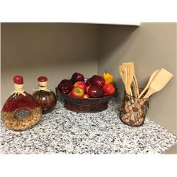Lot of Decor - Fruit, Spatulas, Bottles