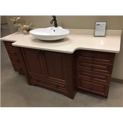 Display V8 - New Bathroom Cabinet Display in Cherry with Quartz Counter Top.Includes all cabinets, m