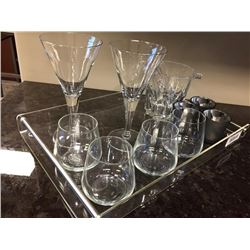 Lot of Decor - Glassware Set and tray.