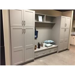 Display D13 - Laundry / Entry Cabinet Display. Cochrane Nimbus.Includes all cabinets, molding  hardw