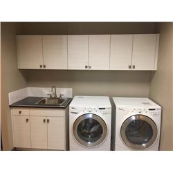 NEW Laundry Cabinet Dispolay, 10 Door.Includes all cabinets, molding, counter tops, plumbing fixture