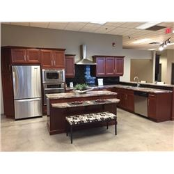 Display D10 - NEW Cherry Kitchen Cabinet Set, Napoli Cherry. 25 doors. Includes Island and breakfast