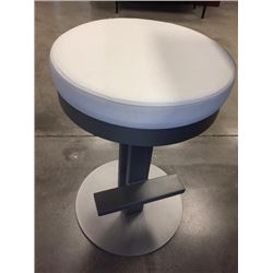 NEW White top Vinyl  Brushed Silver Stool