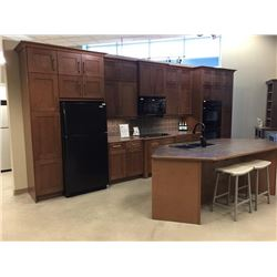 Display D8 - NEW Kitchen Display Cabinets Newhaven maple. 34 Doors. Includes Island.Includes all cab