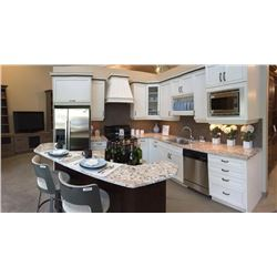 Display D7 - NEW Kitchen Cabinet Display Maple White/Espresso with Granite Counter Tops. Includes Is