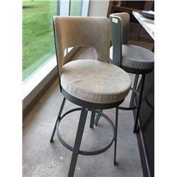 NEW Upholstered Beige  Metal Barstool