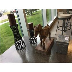Lot of Decor - Horse, Candles, Box
