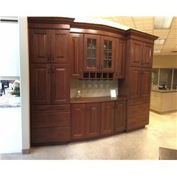 Display D6 - NEW Bar/Study Cabinet Display Brookfield cherry.22 doors. glass rack.Includes all cabin