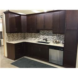 NEW Kitchen Cabinet Display Set Espresso Shaker Style with Granite counter Top.Includes all cabinets