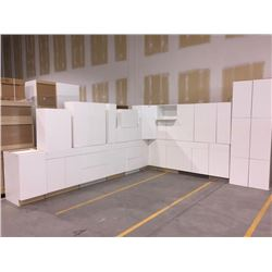 NEW white Kitchen Cabinet set ( 38 DOORS) includes all uppers assorted size and Kitchen base cabinet