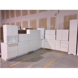 NEW white Kitchen Cabinet set ( 34 DOORS) includes all uppers assorted size and Kitchen base cabinet