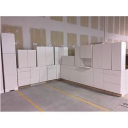 NEW white Kitchen Cabinet set ( 36 DOORS) includes all uppers assorted size and Kitchen base cabinet