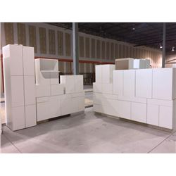 NEW white Cabinet set ( 35 DOORS) includes all uppers assorted size and Vanity base cabinets assorte