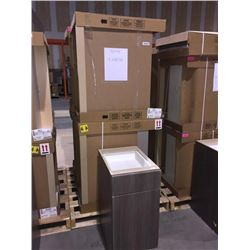 LOT of 5 NEW in boxes, Gray Vanity Base cabinets assorted sizes.