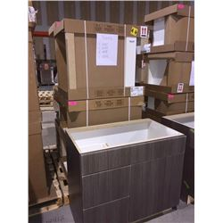 LOT of 7 NEW in boxes, Gray Vanity Base cabinets assorted sizes.
