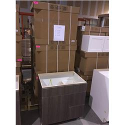 LOT of 6 NEW in boxes, Gray Vanity Base cabinets assorted sizes.