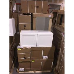 LOT of 10 NEW in boxes, white Vanity Base and upper cabinets assorted sizes.