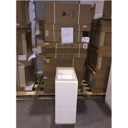 LOT of 9 NEW in boxes, white Vanity Base cabinets assorted sizes.