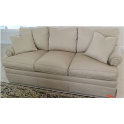 "Beige Sofa by Drexel Heritage (from C.S. Wo), Tightly Woven Fabric 6'4"" L x 2'11"" D, Arm Ht 2'6"""