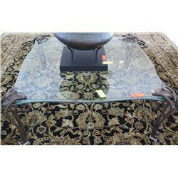 Contoured Square Glass Table w/ Ornamental Leaf Motif Cast Metal Legs 41.5 x 41.5 x 16H