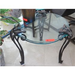 Contoured Round Glass Table w/ Ornamental Leaf Motif Cast Metal Legs 26.5  Dia. 22.5  H