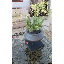 Metal Urn Planter on Stand, Base 14 x 14 x 14