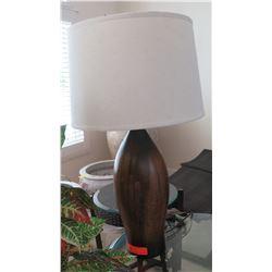 Tall Dark Wood Bowling Pin Lamp 31  H, Shade approx. 16.5  Dia.