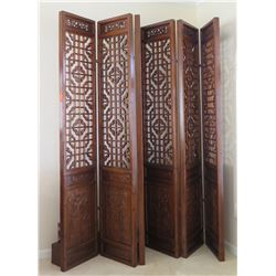 Large 6-Paneled Oriental Carved Wood Folding Screens (each panel 18.5  x  8'4 )