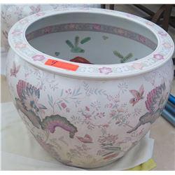 Large Painted White Porcelain/Ceramic Planter 20.5  Top Dia., 18  H