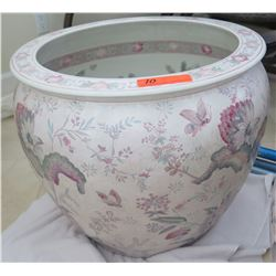 Large Painted White Porcelain/Ceramic Planter 20.5  Top Dia., 18  H
