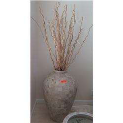 "Natural Stone Vase with Decorative Sticks, Approx. 37"" H"
