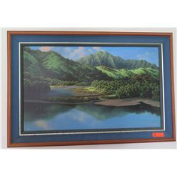 Framed Mountains & Lake Painting by H.D. Wishard, 49 x 33, Signed, Ltd. Ed. 9/100